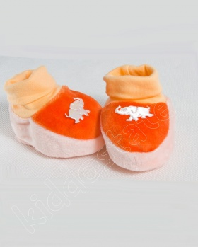Kapcie niemowlęce welur, bambosze SŁOŃ pomarańczowy