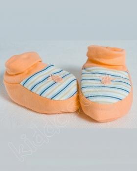 Kapcie dla niemowlaka, bambosze ŻYRAFA pomarańczowy